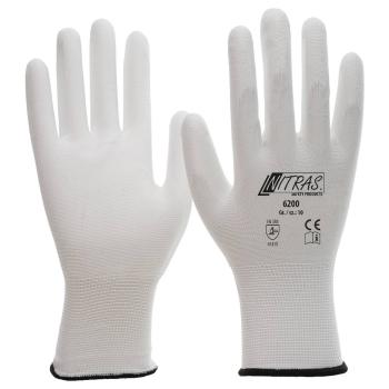 NITRAS Nylonhandschuhe 6200 - PU-Beschichtung weiß